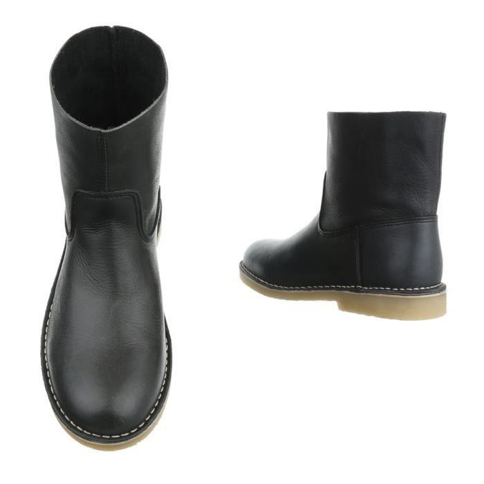 Femme chaussures bottillon Used optique cuir bottes noir 41