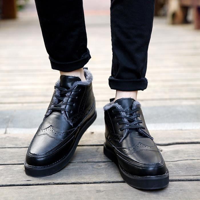 Botte Homme Vintage la fourrure deschauds Slip-on en cuir gris taille41 grTggzauE