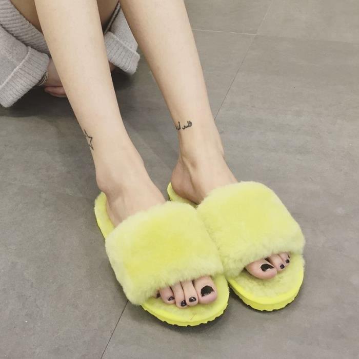 en Chaussons naturelle toes Peau laine douce de Intérieur mouton de Mode fourrure haute hiver Chaussons femmes qualité chaude qtqTU