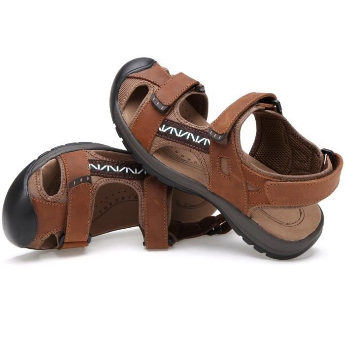 Sandales sport en cuir pour hommes Sandales d'été en plein air Pêcheur Respirant Sport Plage MZP7H Taille-41