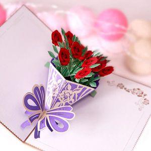 Carte Anniversaire Romantique.Carte De Vœux Carte Anniversaire Carte De Correspondance Romantique Popup 3d Cartes De Voeux Carousel Bonne Fete Fete Des Meres