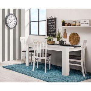 TABLE À MANGER SEULE DOMUS Table de séjour blanc et bois noir - L 135,2