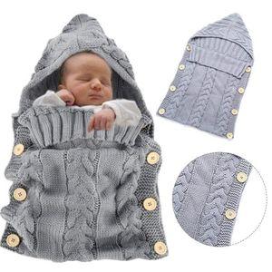 e9f09e4883a3d Chaud Tricot À Capuche, Nouveau-né Bébé Vêtements Essentiels Bébé Sac De  Couchage, Coton Poussette Couverture Wrap (0-12 Mois)
