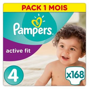 COUCHE PAMPERS Active Fit Taille 4 - 8 à 16kg - 168 couch