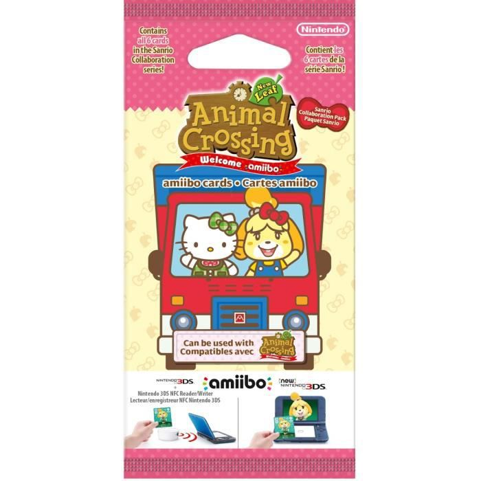 Paquet 6 Cartes Animal Crossing New Leaf Welcome Amiibo Pack Sanrio