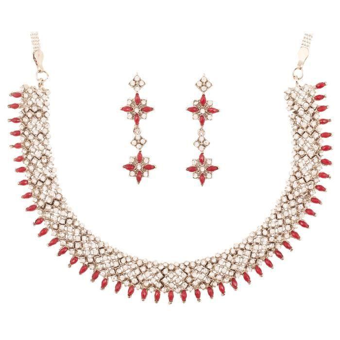 Bollyod indien Femmes Blanc strass et de taille marquise rouge Faux Ruby diamant look élégant nuptialeCQ5UZ