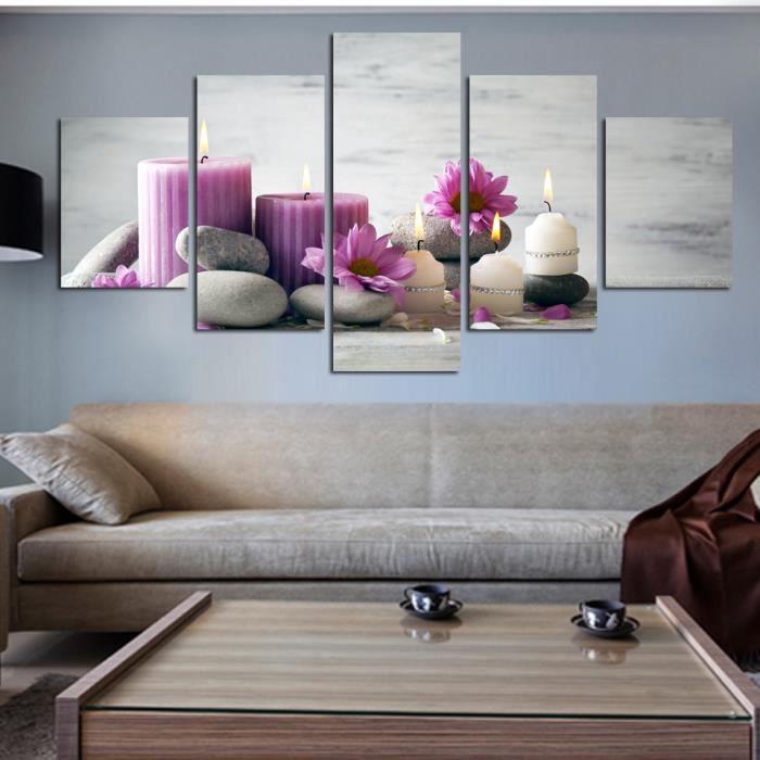 Imprimé 5 panneaux toile peinture rouge blanc bougies mur ...