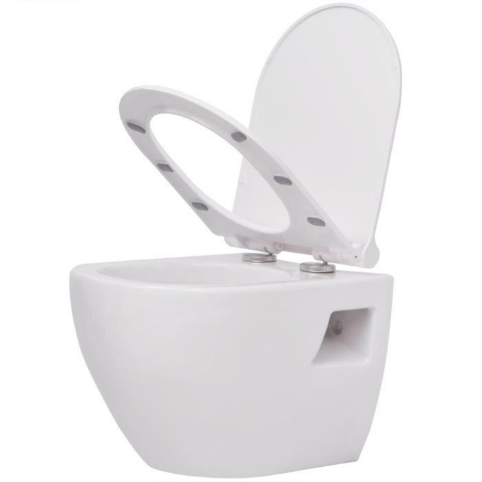 vidaXL WC Suspendu en Céramique Blanc Salle de Bains Cuvette ...