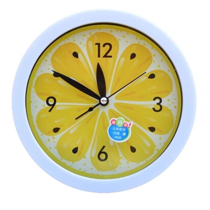Silencieux Round mur Horloges Salon Réveil Horloge de bureau, Jaune ...