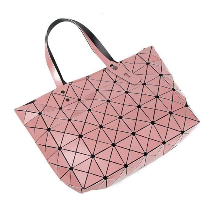 Sac à Main Fashion Pour Femme Lingge Sac Géométrique Pliant Sac avec  Bandoulière nacre rose 7cd71599ddf8