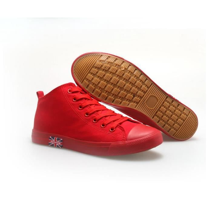 Mode Cor enne Loisirs High Top Sneakers Men Rouge