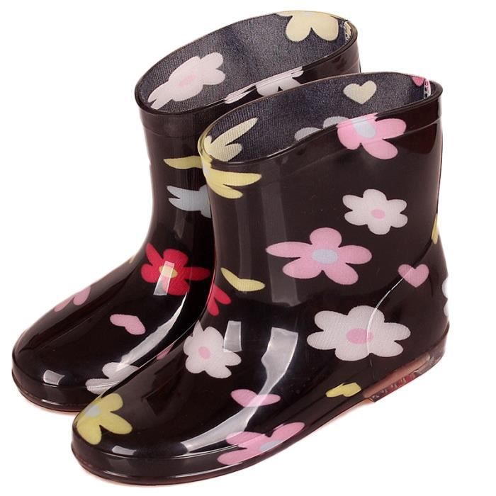 Bottes de Pluie Enfant Chaussures pour Mixte Enfant 3-7 Ans Bottines Imperméables Antidérapantes