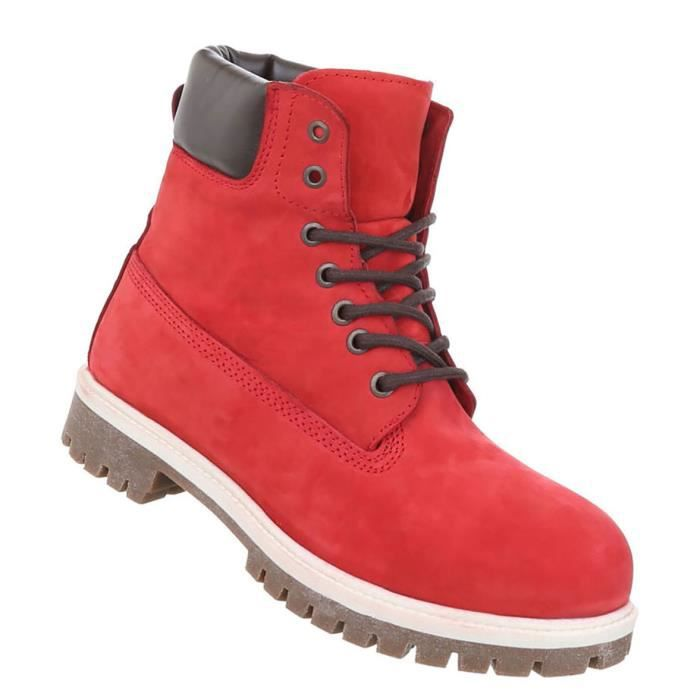 Chaussures Hommes Bottes cuir laçage rouge 41