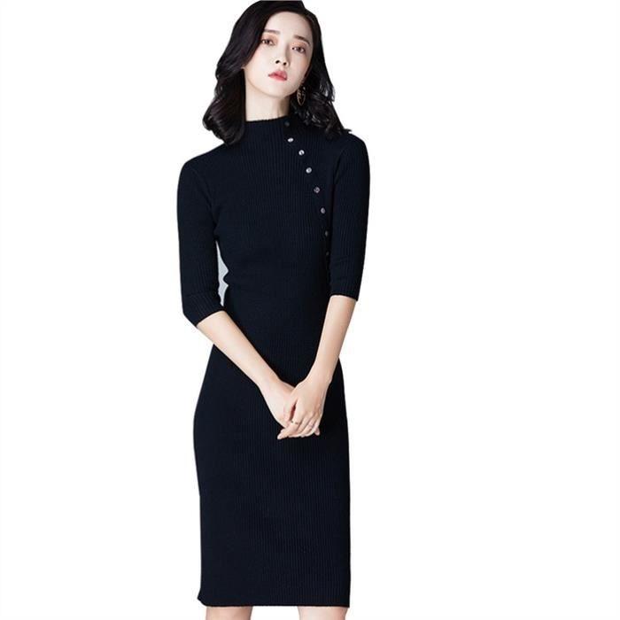 Fitibest manches longues mi longueur robe pull pour les femmes, Noir ... 813b6bdb5de0