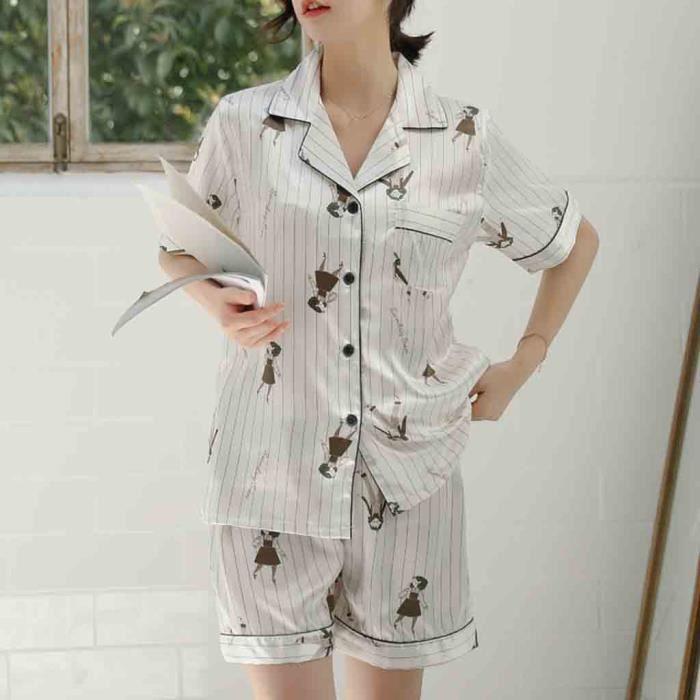 Set Motif Simulation Nuit D'impression Vêtements Pyjama Femmes Blanc Soie De kZOiTPwXu