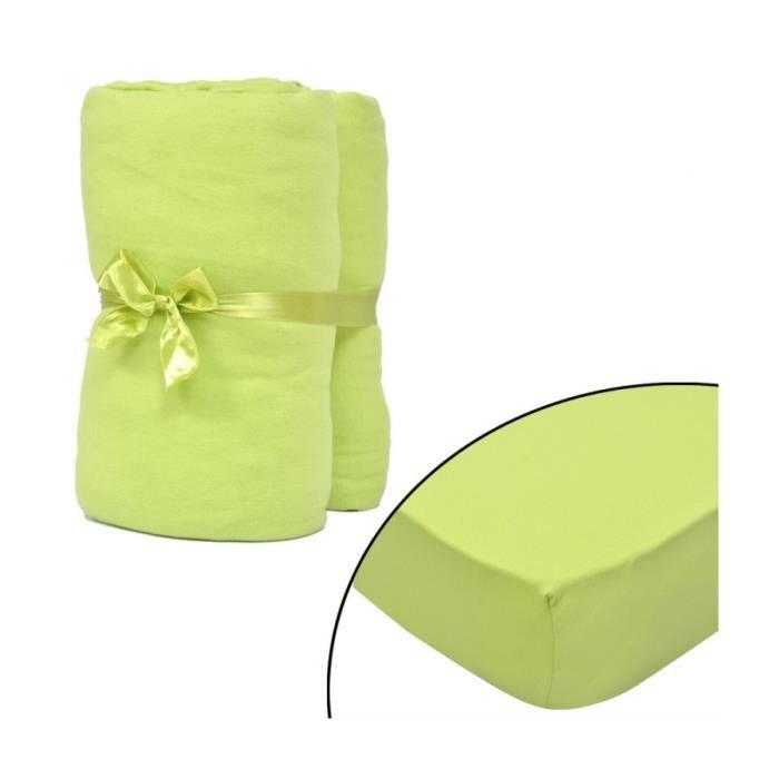 Superbe 2 draps-housses vert pomme en jersey de coton 180 x 200 - 200 x 220 cm Neuf