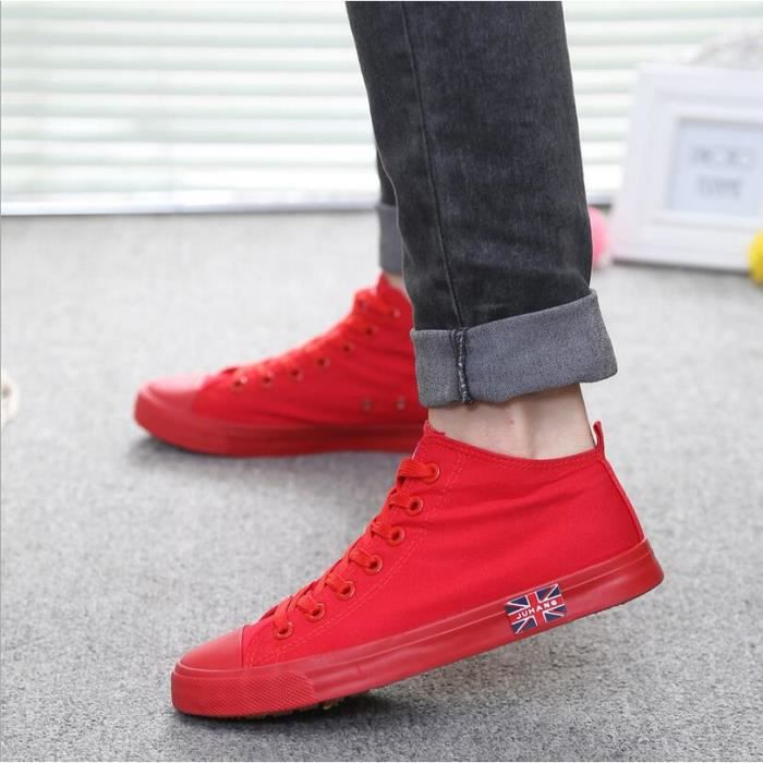 Mode Cor enne Loisirs High Top Sneakers Men Rouge lAiIvO3v