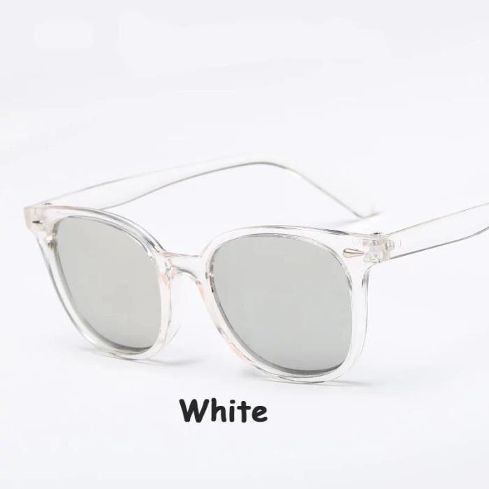 Lunettes de soleil Transparent Vi blanc blancntage Femmes Hommes Big monture de lunettes UV400