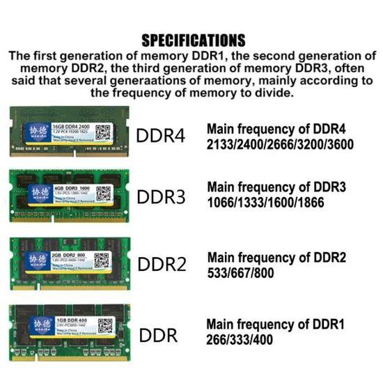 Mémoire Vive Ram Ddr4 2666 2667 4g Module De Pour Ordinateur Portable -  235041 Noir