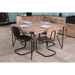 TABLE À MANGER SEULE Table carrée 130cm métal noir et bois massif