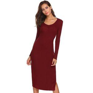 c2b08e5b4e25a ROBE Robe soirée femme crayon rouge Casual col V manche