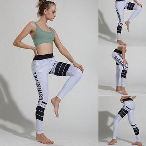 TAPIS DE SOL FITNESS Lettre Imprimé Rayé Sport Femmes Leggings Pantalon ... ee8e38c6f05