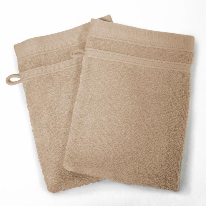 DOUCEUR D'INTERIEUR Lot de 2 gants de toilette 100% coton Vitamine 15x21 cm taupe