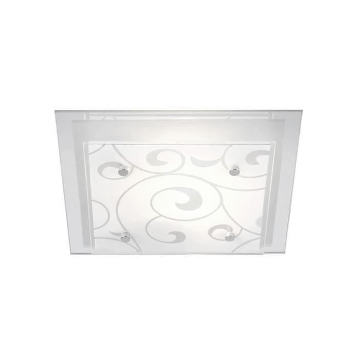 Plafonnier blanc chrome - verre translucide satiné - LxWxH:240x240x85 - Ampoule non inclusePLAFONNIER