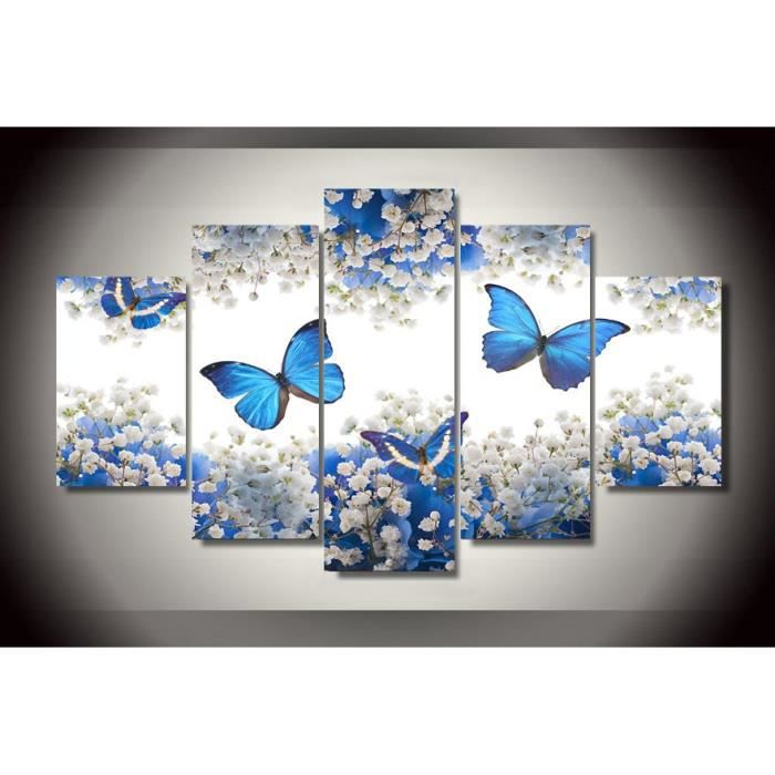 5 pieces hd imprim bleu blanc fleurs papillon peinture toile impression salle d cor impression. Black Bedroom Furniture Sets. Home Design Ideas