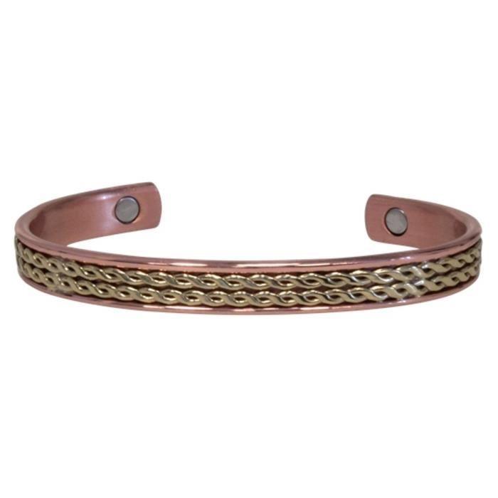 Bracelet Cuivre Plat Laiton Strié (magnétique)