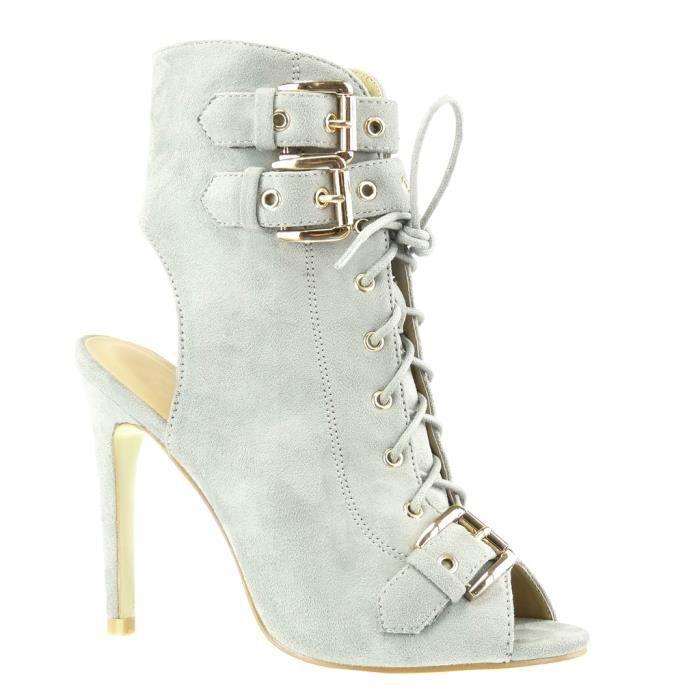 Angkorly - Chaussure Mode Bottine Sandale stiletto ouverte femme boucle métallique Talon haut aiguille 12 CM - Gris - C-230 T 41 DZvfe4