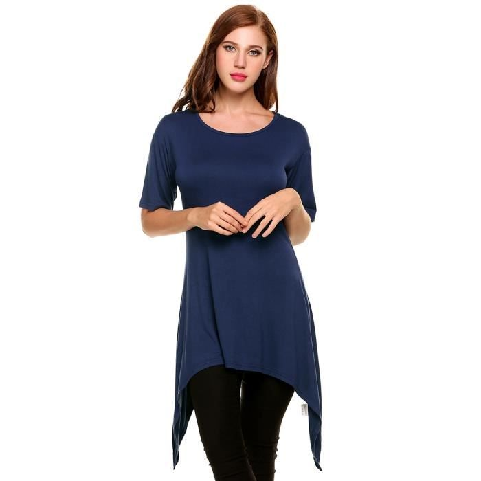 Col O Solide Ourlet Pull Casual Manches Femmes Plissé Courtes 6wxIgROq