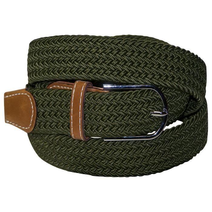 Ceinture en tissu élastique, ceinture extensible pour femme et homme avec  du cuir, ceinture stretch tissée tressée, 2b5604a0a42
