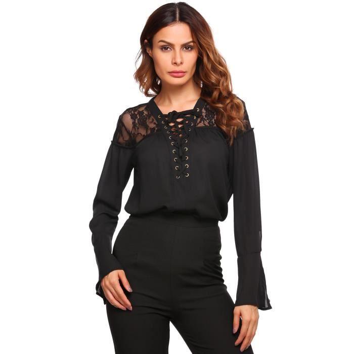 Femmes chemisier dentelle V-cou casual patchwork Noir Noir - Achat ... 69dd8ae162d