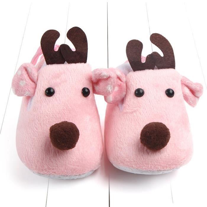 Nouveau-né Bébé Chaussures De Noël Mignon Infantile Chaussures D'hiver Lucky Cerf Doux Sole Princess Chaussures kdgAi3