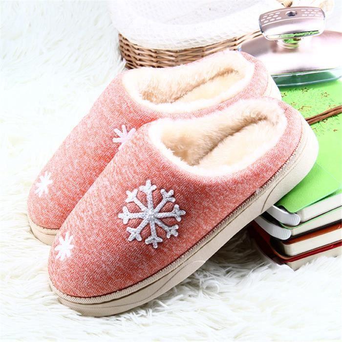 Flocons De Neige 2018 hiver Chausson Doux Chaussure Garde Au Chaud Simple Femme Chaussons Classique Coton Haut qualité 36-41 HvOfWrBh