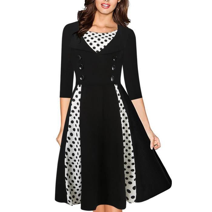 Les pois de bloc de couleur robe aline femmes dot robe plissée