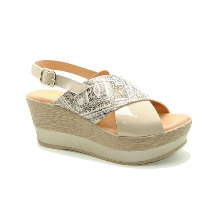 Dekaye 7325 COMB 1 marron - Chaussures Sandale Femme