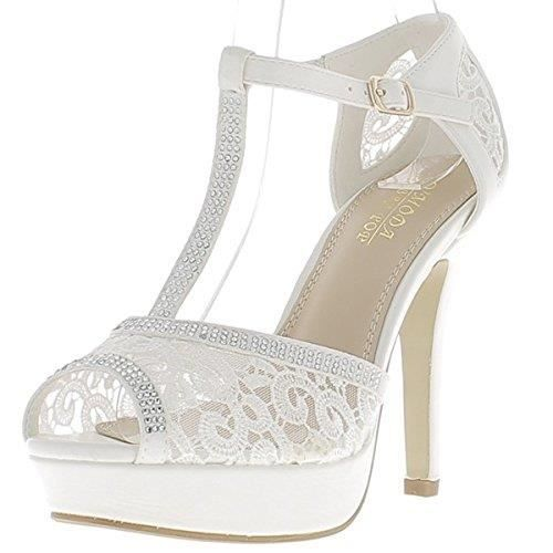 5cefd19cd7e71b Chaussures Femme Talon blanc strass aiguille 11,5 cm Plateau 2,5 cm ...