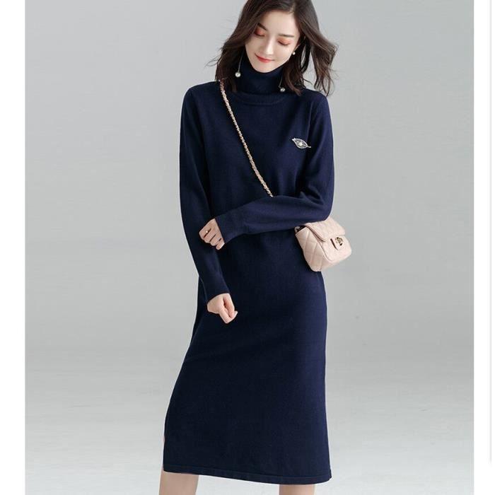 d585c69e8b3 Nouveau Longue Pull Robe Femme Couleur Unie En vrac Style Manche Longue Robe  en Maille à Col Haut Automne Hiver Pullover Robe Bleu