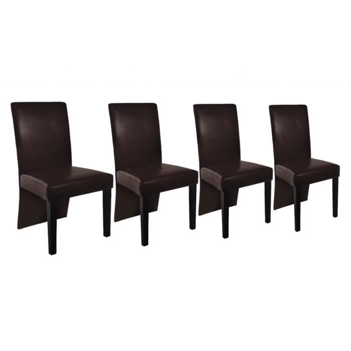 chaise design bois marron lot de 4 achat vente chaise bois cuir soldes d s le 10. Black Bedroom Furniture Sets. Home Design Ideas