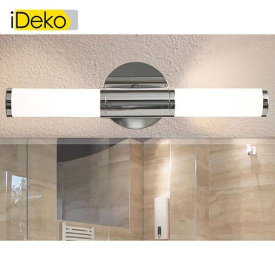 iDeko®Applique double pour salle de bains en acier chromé et verre opale  blanc largeur 12.5 cm
