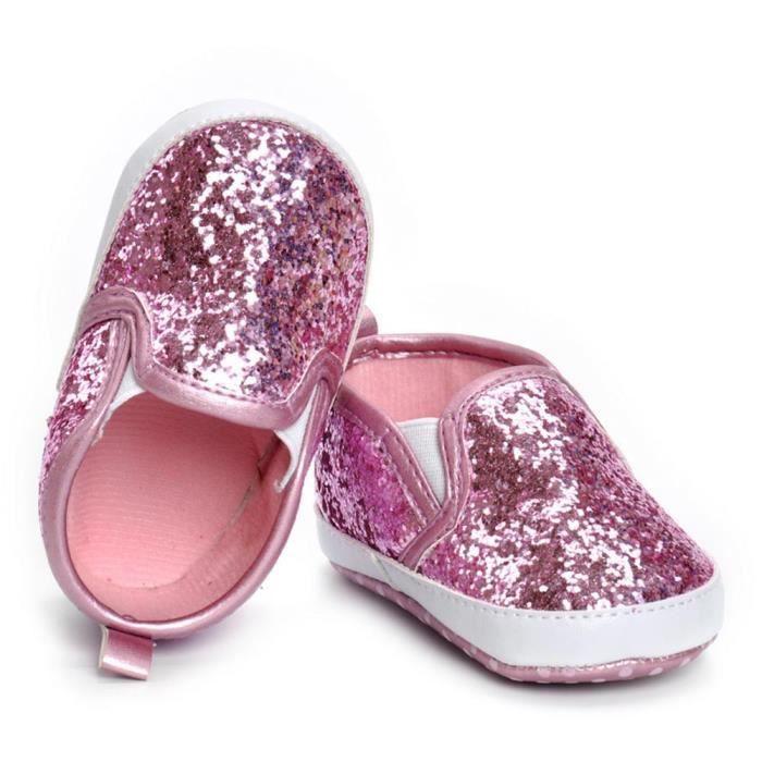 BOTTE Nouveau-né Filles Garçons Crib Chaussures Doux Semelle Anti-slip Bébé Sneakers Paillettes Chaussures@RoseHM