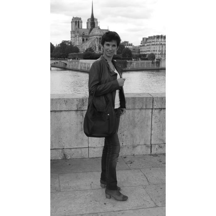 Sac à Main CUIR femme - Modèle Mandalay gris fonce