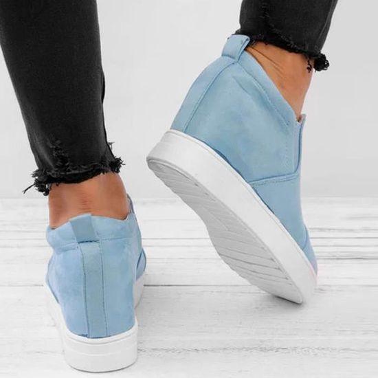 Bottes Bleu Mesdames Chaussures Augmentation Mode Clair Cheville Femmes Courtes Martin Wedges De Lettre U4azSWrU
