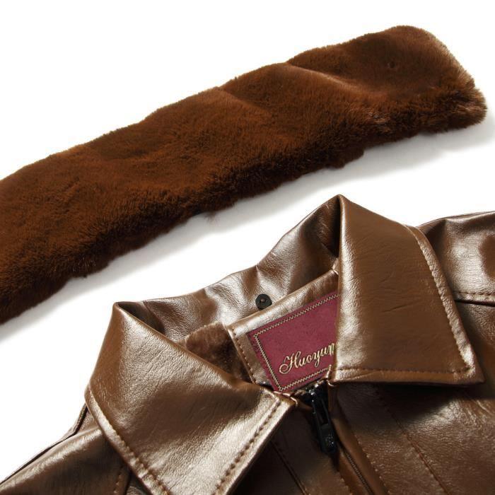 Fourrure Imitation Col Couleur D'homme En Marron Manteau Zipper D'hiver Tops De Cuir Pure Amovibles 0Apqpw5x1