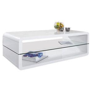 TABLE BASSE Table basse blanc laqué 120cm avec plateau en verr