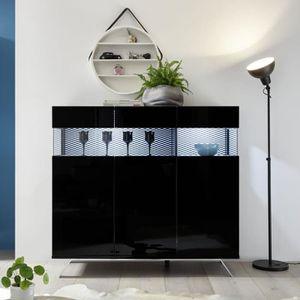BUFFET - BAHUT  Buffet 3 portes Laqué Noir à LEDs - TARENTE n°2 -