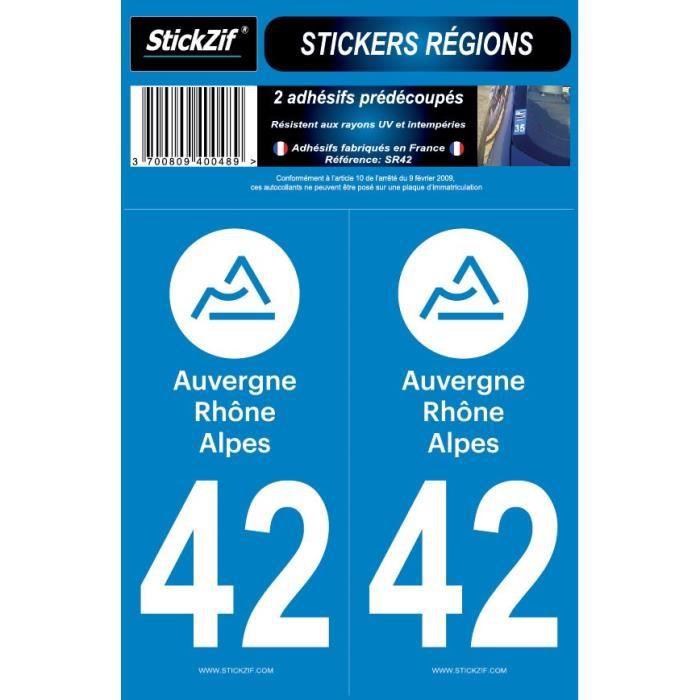 STICKZIF 2 Autocollants Région Département 42 SR42