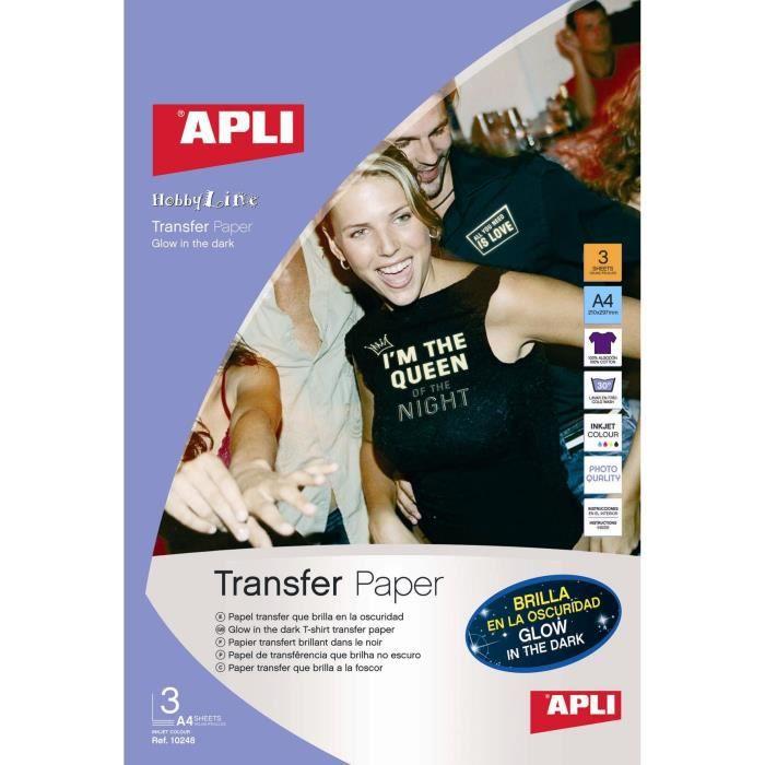 APLI Pochette de 2 Feuilles de Papier de transfert - Pour t-shirt brillant dans l'obscurité